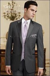 Wholesale Ties Grey Waistcoat - Custom Made Slim Fit Groom Tuxedos Charcoal Grey Groomsmen Notch Satin Lapel Men Wedding Dinner Suits(Jacket+Pants+Tie+Waistcoat)G813