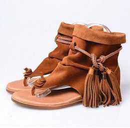 Wholesale Ankle Wrap Boots - Short Ankle Boots Flat Sandal Ankle Wrap Tassel Shoe For Women Leisure Real Leather Rome Style Gladiator Sandal