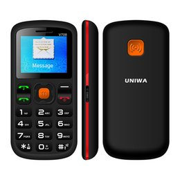 Wholesale Dual Os Phone - Uniwa V708 Charging Cradle Senior Mobile Phone 2G Oldman Big Button Blutooth 2.0 SC6531DA FM RADIO Dual SIM 800mAh Battery SOS