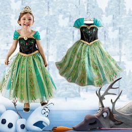 Wholesale Cap Gowns For Wholesale - Infants Baby Girls Frozen princess dress elsa anna Lace splicing gown dress photo props costume for 2-7T