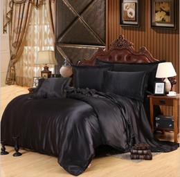 Wholesale Imitation Silk Bedding Set - Wholesale- Luxury Silk Imitation 4 Pcs Solid Black Bedding Set King Queen Size Duvet Cover Bed Sheet Bed Linen Pillowcase #W10076#