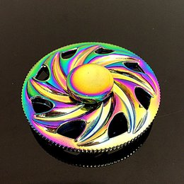 Wholesale Wheel Weights Wholesale - EDC Fidget Spinner Eight leaf wind wheel weight Toys Rainbow Color Metal Gryo New Style Spinner in Retail Box