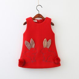 Wholesale Fashion Wholesalers Wool Dresses - Christmas Kids Clothing 2018 Baby Girls Woolen Cartoon Dresses Kids Girls Fashion Sleeveless Dress Kids Winter clothes