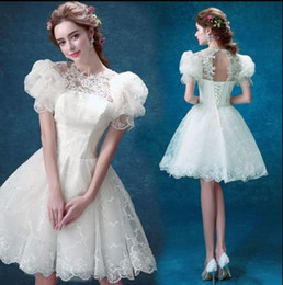 Wholesale Evening Knee Lenght Dresses - Women White Lace Applique Short Evening Dress With Bubble Sleeve Sweet Knee-lenght Lace-up Prom Party Mini Dress