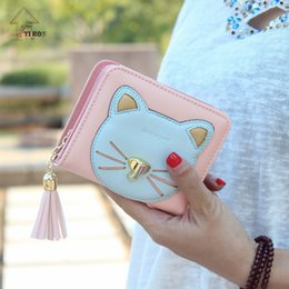 Wholesale Photos Kittens - New Kitten Wallet Korean Version Of The Cute Three-dimensional Mosaic Color Cat Small Hardware Zipper Wallet