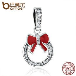 Wholesale Christmas Wreath Bows Wholesale - Wholesale- BAMOER Christmas Gift 925 Sterling Silver Christmas Wreath Red Bow Knot Pendant Charms fit Women Bracelets Fine Jewelry SCC077