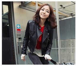 Wholesale Crop Leather Jacket Women - 2016 New Clothing Woman Crop tops Autumn And Winter Suit-dress Locomotive Jacket Slim Coat Two Colors Clothes Zipper Leather outwear