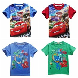 Wholesale Organic Baby T Shirts Wholesale - 2017 New Cars Boys Summer T-shirts PJMASKS Children Summer Cotton Tops Short Sleeve Kids Boys Cartoon Tees Baby Clothes