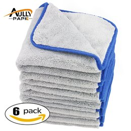 Wholesale wholesale towels plush - Wholesale- 6Pcs 40cmx40cm 800gsm Super Thick Plush Microfiber Car Cleaning Cloths Car Care Microfibre Wax Polishing Detailing Towels