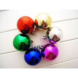 Wholesale crafts presents - Wholesale-Random Color 12Pcs pack Plastic Round Ball Christmas Lovely Bauble Ornament Gift Present Xmas Tree Craft DIY Decoration Supplies
