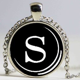 Wholesale Vintage Name Plate - Vintage Typewriter Key pendant. Letter S Necklace. Typewriter jewelry. Initial Name,Glass cobachon pendant,silver plated