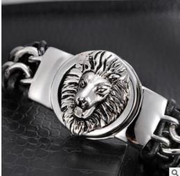 Pulseira de couro da serpente do crânio on-line-aço pulseira de titânio totem Vintage para pulseiras homens personalidade legal do crânio cobra Leão animal cabeça pulseira de couro modelo