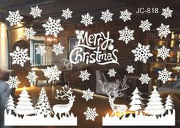 Wholesale Wholesale Windows Surface - Merry Christmas white snowflake window glass stickers cute Christmas wall stickers clings Santa Claus decals shop window decoration