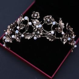 Wholesale Gray Baroque Pearls - Vintage Wedding Hair Accessories 2017 New Bridal Headpieces Baroque Beaded Pearls Wedding Tiaras Queen Crowns Bridal Headband For Party
