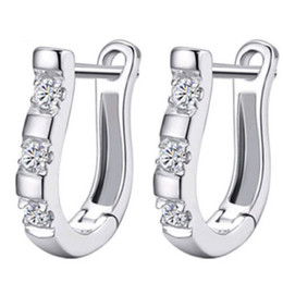 Wholesale Gemstone Ear Cuff - New Fashion Women Sterling Silver Jewelry White Gemstone Stud Hoop Earrings woman girlfriend gift high quality