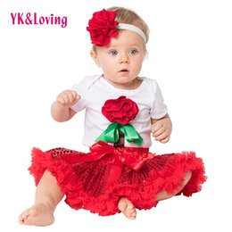 Wholesale Baby Baptism Suits - Sequin Birthday Clothes Set Baptism Romper Outfit for Baby Girl Red Christening Party Skirt Wedding Infant Flower Headband Suit Clothing