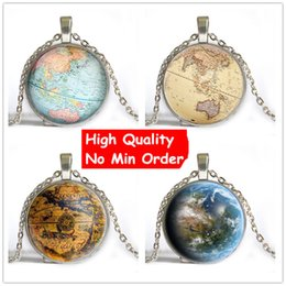 Wholesale Earth Globe Necklace - 4 Style 2016 Newest Vintage Globe Long Necklace Planet Earth World Map Necklace Art Glass dome pendant necklace Christmas Gift NS026
