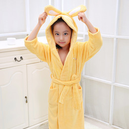 Wholesale Kids Bathrobe Hooded Wholesale - Kid's Hooded Bathrobe Children Bathrobes Kids Bathrobe for Girl and Boy 100% Colour Cotton Towels Robe