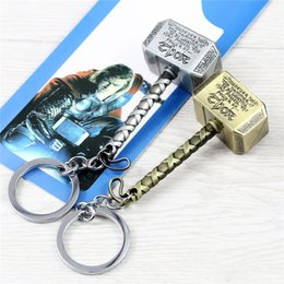 Wholesale Metal Men Movie - 2 Color Avengers Marvel Thor's Hammer Keychains Thor Stainless Steel Hammer Metal Pendant Keychain Thor Cosplay Hammer