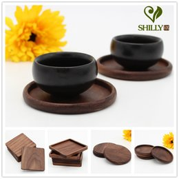 Wholesale Wooden Coaster Set - Wholesale- 1pcs Rectangle Mini Wooden Pallet Coaster Set Whiskey Wine Glass Cup Mat Pad Hot Cold Drink Wood Table Mat Bar Tool