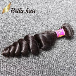 Wholesale Cheap Natural Hair Products - Cheap Brazilian Hair Weft 1pc lot Human Hair Bundle Natural Black Color Loose Wave Free Shipping Bella Hair Products 1 bundle retail