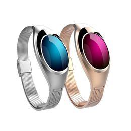 Z18 android online-Reloj de lujo Z18 Bluetooth Smart Band Presión Arterial Monitor de Ritmo Cardíaco Pulsera Autorretrato Pulsera remota para dispositivos Android IOS