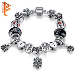 Wholesale Vintage Glass Plates Silver Set - BELAWANG Vintage Jewelry Silver Plated Owl Charm Bracelet&Bangles Black Murano Glass&Crystal Beads Bracelet with Link for Family Best Gift