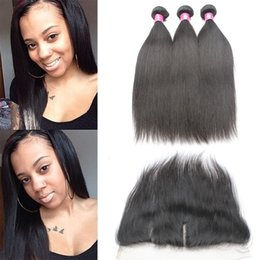 Wholesale Remy Human Hair Color 1b - Virgin Brazilian Straight Hair Bundles With Lace Frontal Closure 1B Remy Peruvian Human Hair Weave With Closure Frontal Hair Piece Free Part