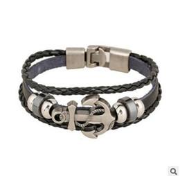 Wholesale Brass Anchor Vintage - Vintage Anchor Bracelet Black Leather Charm Bracelets for Men Jewelry Party Gift Punk Multilayer Anchor Bracelets Cuff Jewelry Accessories