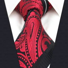 Wholesale Extra Long Mens Tie - S8 Paisley Stripes Black Red White Mens Extra Long Size Necktie Ties Fashion 100% Silk JacquardWoven