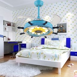 Wholesale Electric Cartoon Fans - LED Cartoon creative rudder remote control invisible ceiling fan lamp children's room bedroom with electric fan chandelier boy girl