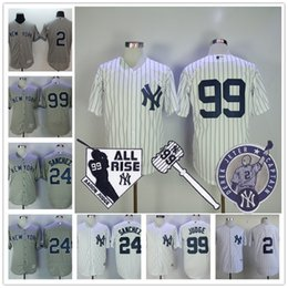 Wholesale New Jersey Yankees - Cheap New York Yankees Jersey #99 Aaron Judge #24 Gary Sanchez #2 Derek Jeter White Gray Road stitched All Rise Gavel Patch Jerseys
