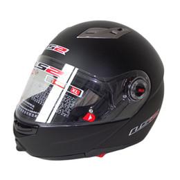 Wholesale Red Flip Up Helmet - 2016 helmet LS2 ff370 motocross helmet motorcycle open face double lenses racing flip up helmet 100% Genuine