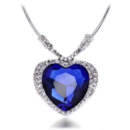 Wholesale Titanic Blue Heart - 18K White Gold Plated Blue Swarovski Crystal Heart Titanic Necklace for Women Wedding Jewelry Bridal Accessories High Quality Whoesale