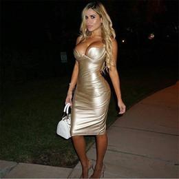 2019 vestito di un pezzo in pelle Spedizione Gratuita Kim Kardashian Morbido cuoio bretelle sexy vestito aderente vestito dalla fasciatura del vestito dalla fasciatura dei vestiti PF-037 vestito di un pezzo in pelle economici