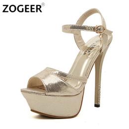 Wholesale Rome Sandals Gold - Wholesale-Hot 2016 Summer Rome Style Sandal Fashion 14cm Gladiator Women Sandals Platform High Heels Luxurious Gold Silver Women Shoes