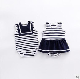 Wholesale Sailor Baby Girl - Striped Sailor Baby Onesies Romper Outfit Newborn Baby Girls Striped Romper Dress Cotton Romper Jumpsuit Bodysuits Boutique Clothing 727