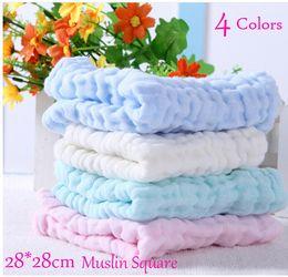 Wholesale Wholesale Baby Face Towel - Wholesale 10pcs 6 layers Plain Baby Bibs Gauze Muslin Newborn Face Towel Cotton Kids Wash cloth Handkerchiefs Infant Feeding Saliva Towel