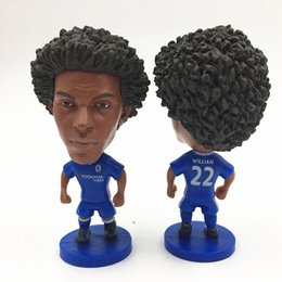 Wholesale Toy Football Player Figures - Miniverse 2016-17 Season Club Player Souvenir Dolls Real 22 William Football Dolls 6.5 cm Height Resin blue Kit Mini Toy
