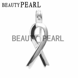 Wholesale love pearl sterling silver - 5 Pieces Wish Love Pearl Ribbon Cage Gift 925 Sterling Silver Ribbon of Hope Pendant Cage