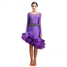 Wholesale Women Latin Dance Tops - lace latin dance costumes for women latino dress dance latin rumba dance dresses fringe women latin dress tango salsa top skirt
