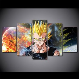 Wholesale Modern Picture Frame Set - 5 Pcs Set Framed Printed Dragon Ball Z Strongest Fighter Poster Modern Home Wall Decororation Print Painting Canvas Wall Picture