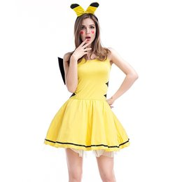 Wholesale Games Stages - New Pocket Monster Pikachu Halloween Cosplay Costumes Cute Women Dresses Anime Game Style Stage Dance Clothes Yellow PS016
