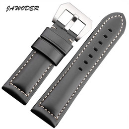 Wholesale 26mm Panerai - JAWODER Watchband 22 24 26mm Men Black Brown Smooth Genuine Leather Watch Band Strap Stainless Steel Silver Pin Buckle for PAN