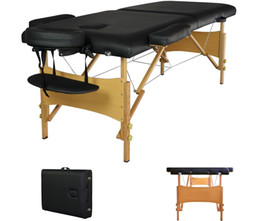 Wholesale 2 quot Pad quot Black Portable Massage Table w Free Carry Case Chair Bed Spa Facial Table