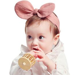 Wholesale Cartoon Yellow Hair - Baby Girls Headbands Mickey Cartoon Elastic Bunny Headbands Infant Cotton Bunny Hairbands Children Hair Accessories Kids Headwear KHA540