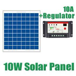 Wholesale Solar Cells 12 - Batteries Cells, Panel 10W Solar Panel + 10A 12 24V Solar Ccharge controller charger for 12V battery