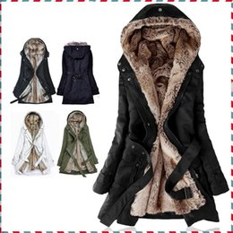 Wholesale Women Faux Fur Winter Hoodie - new arrival Thick Faux fur lining women's fur Hoodies winter warm long fur inside coat jacket cotton clothes thermal parkas AA1607