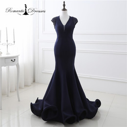 Wholesale Sequin Fit Flare Dress - 100% Real Photo Navy Blue Cap Sleeves Beaded Mermaid Flared Bottom Evening Gowns Sexy Ladies V Neck Fitted Party Prom Dresses