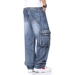 Wholesale water wash jeans male - Wholesale-Hiphop jeans male water wash hip-hop wear-resistant loose multi-pocket denim trousers casual 6XL 5XL 4XL 3XL 2XL